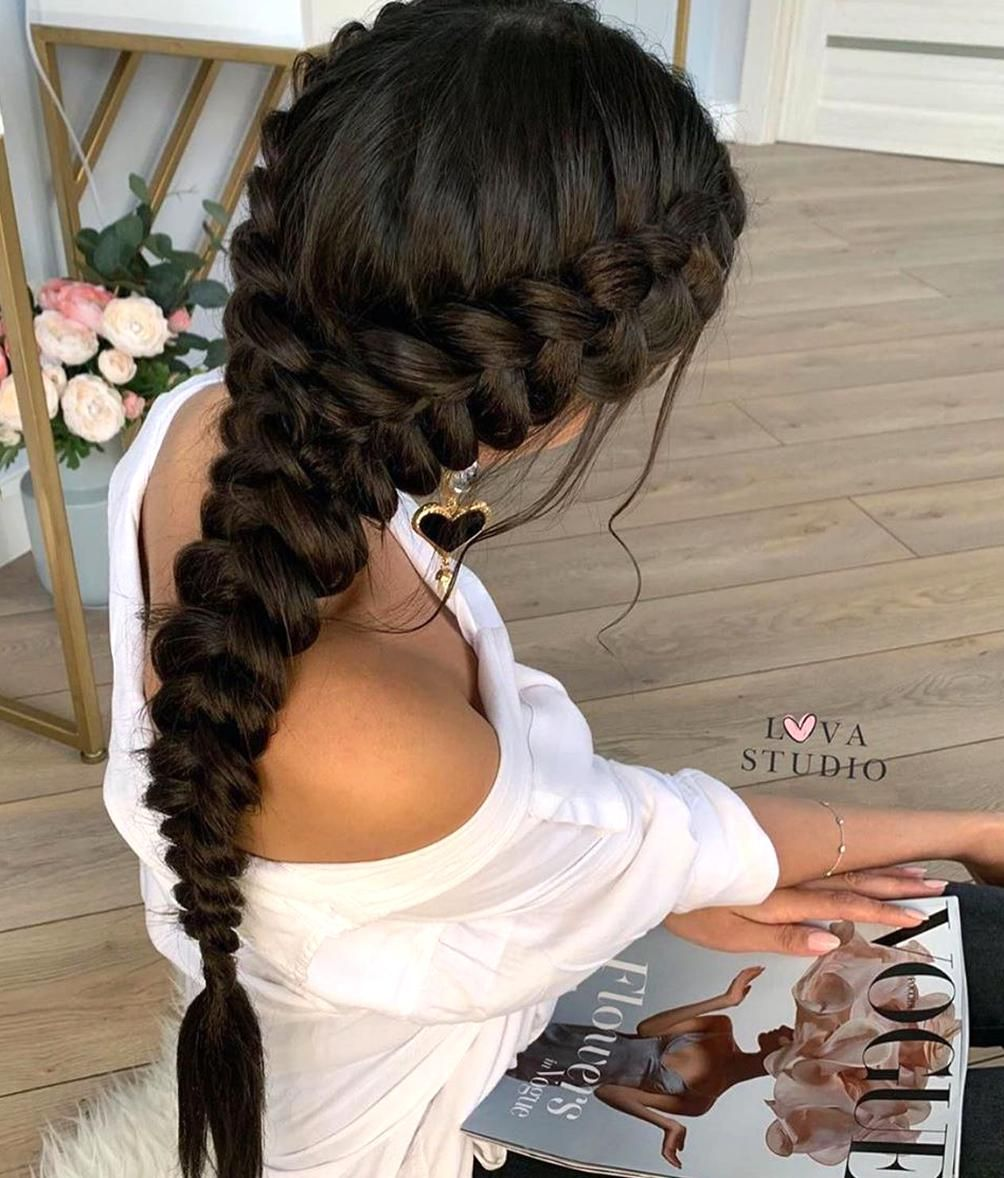 Your Braids On Instagram So Elegant Two Dutch Braids Into One In 2020 Hair Styles Classy Hairstyles Long Hair Styles