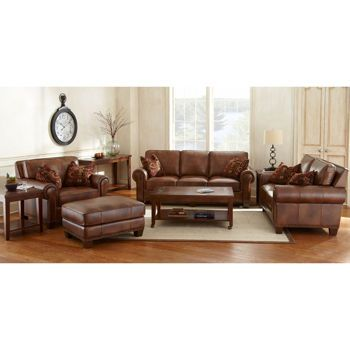 Costco 39 S Helena 4 Piece Top Grain Leather Set For 4000 Living Room Furniture Pinterest