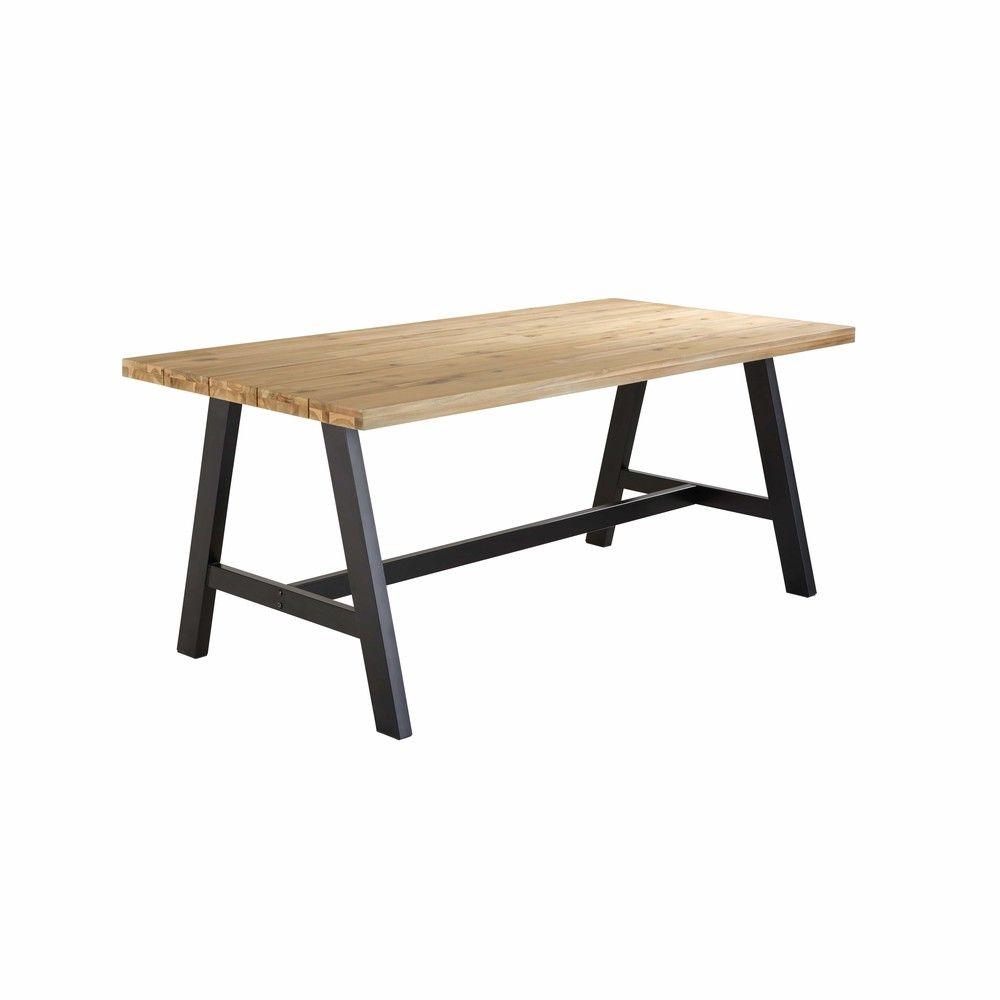 Table De Jardin 6 8 Personnes En Acacia Et Metal Noir L180 Maisons Du Monde Gartentisch Holz Schwarzes Metall Gartentisch