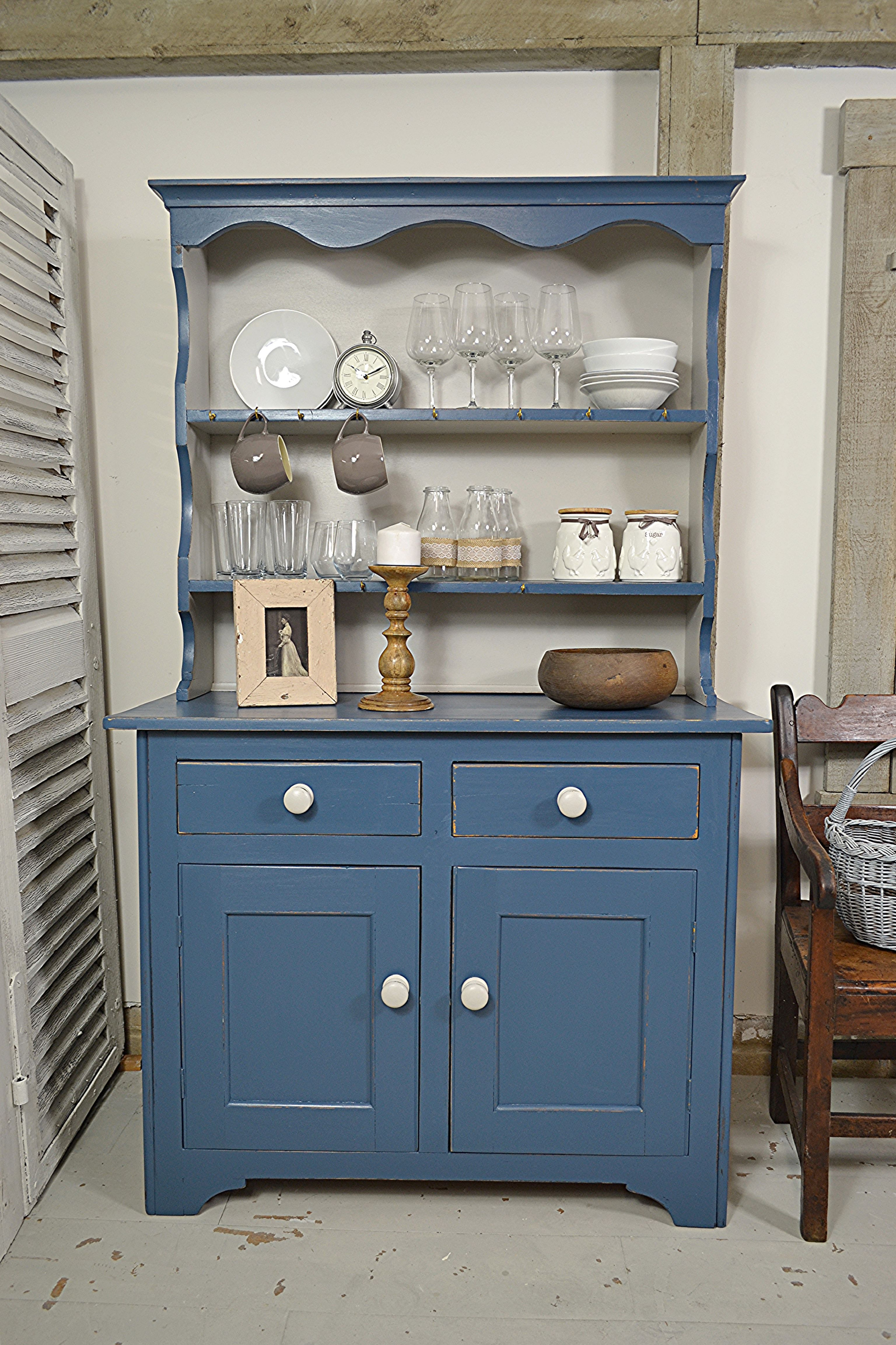 This small blue kitchen dresser is perfect for a small space we