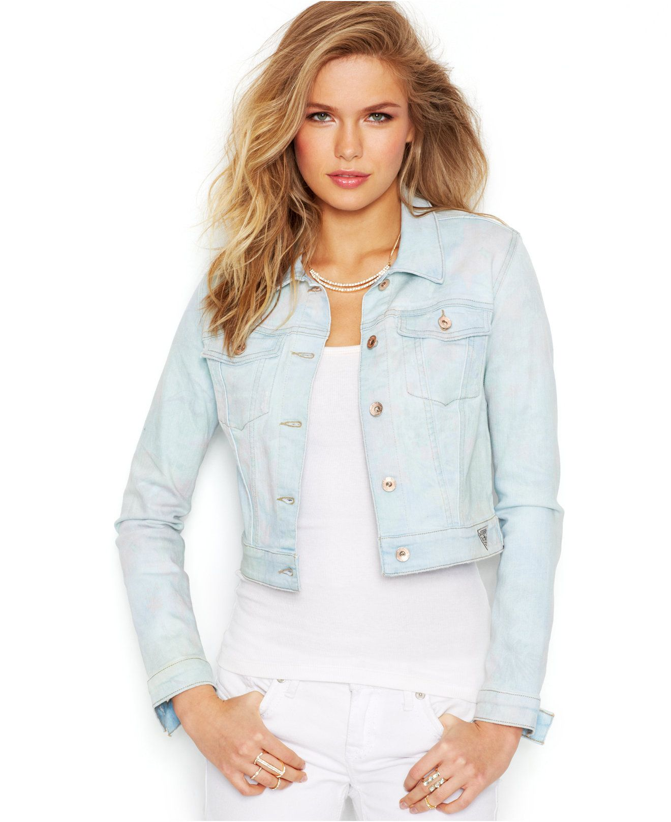 GUESS Cropped Jean Jacket, Light Blue Floral Wash - Jackets ...