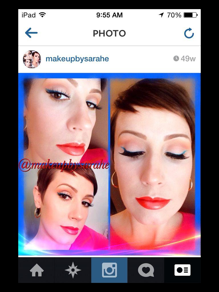 Teal and orange spring or summer makeup