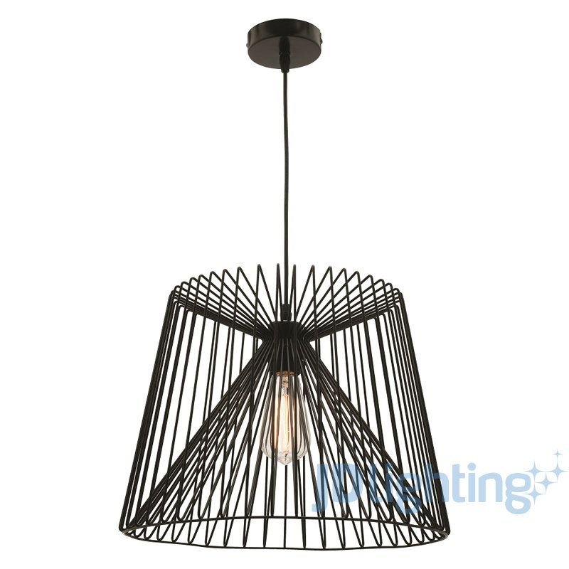 Mercator Zurich Large Black Wire Shade Pendant Light MP7231L ...