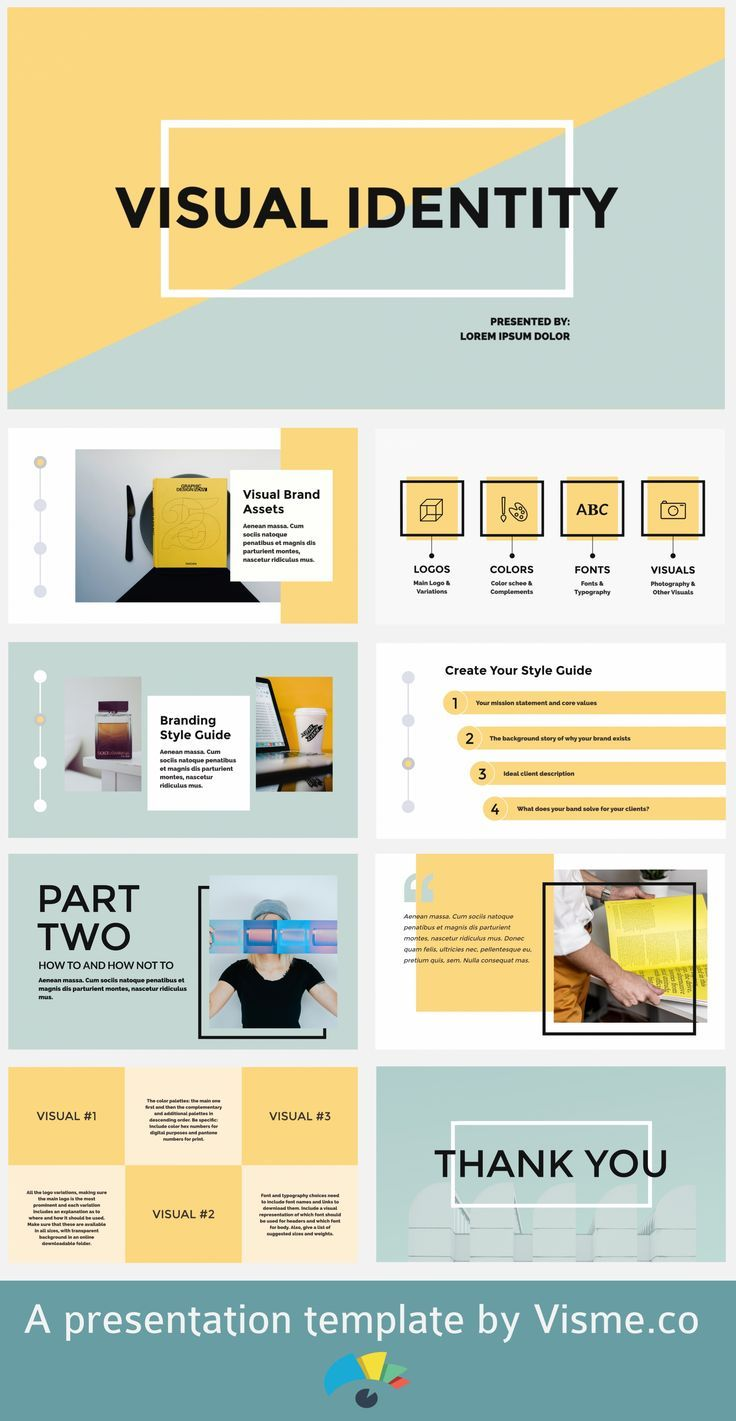 Use this template to create your own presentation. Either for a visual identity or anything you like. Get inspired to create amazing slides in less than you think.  #presentations #templates #slides #slidedeck
