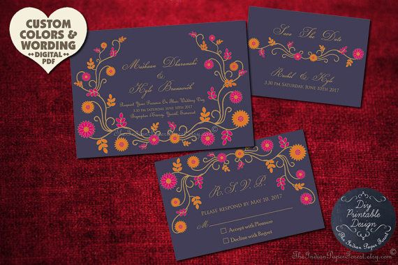 Save The Date Card Indian Summer Wedding Custom Design Floral Invitation Set Elegant Thai Pakistani Asian Nepali Bangladeshi Boho Chic Diy Invites Printable Wedding Invitations Wedding Invitations Wedding Cards