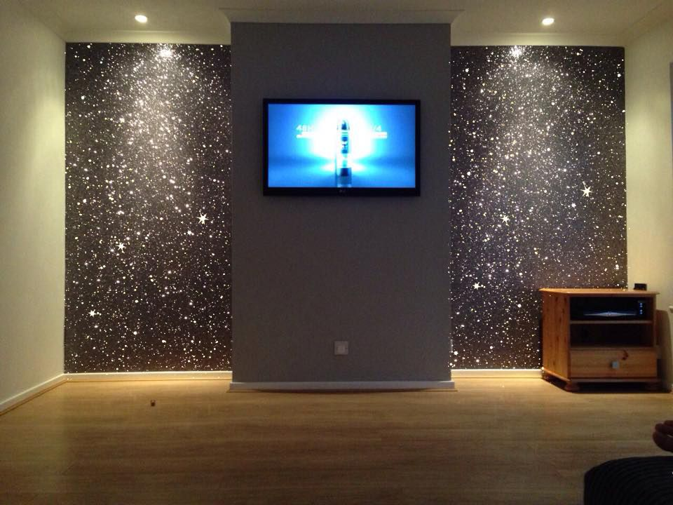 Gray Tv Wall For Home Cinema Room In 2019 Glitter Accent