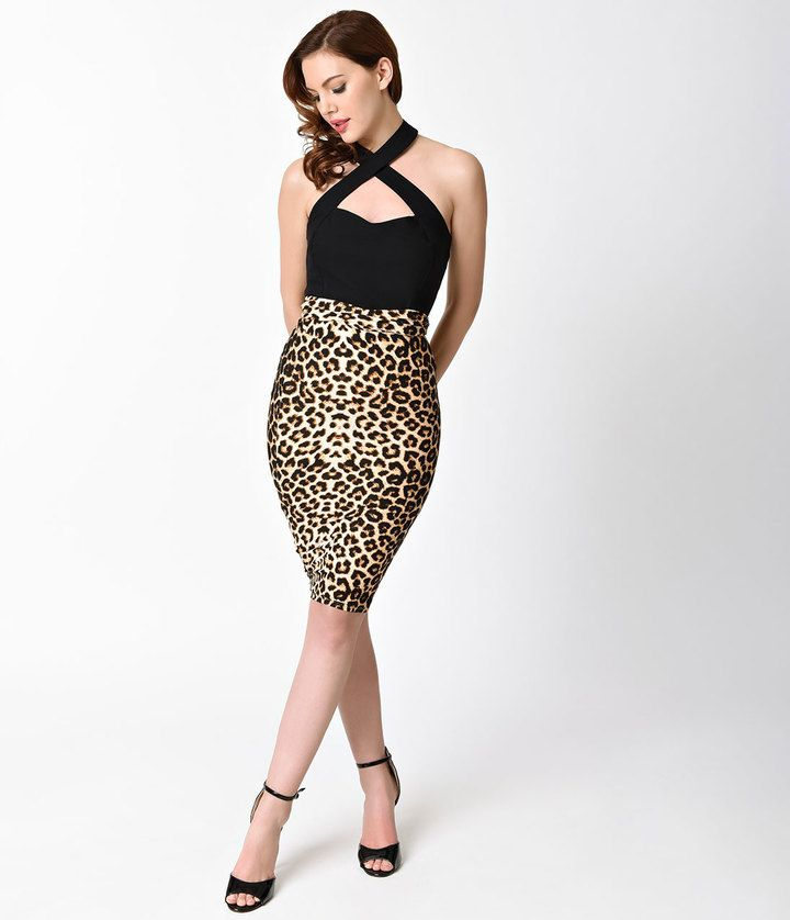 be623a92b Unique Vintage 1950s Leopard Print High Waist Katharine Wiggle Skirt ...