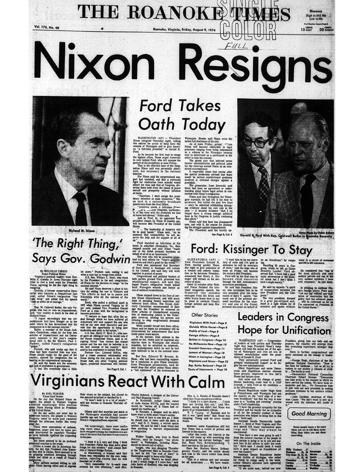 After Nixon Resigned In 1974 Reporter Joel Turner Wrote That