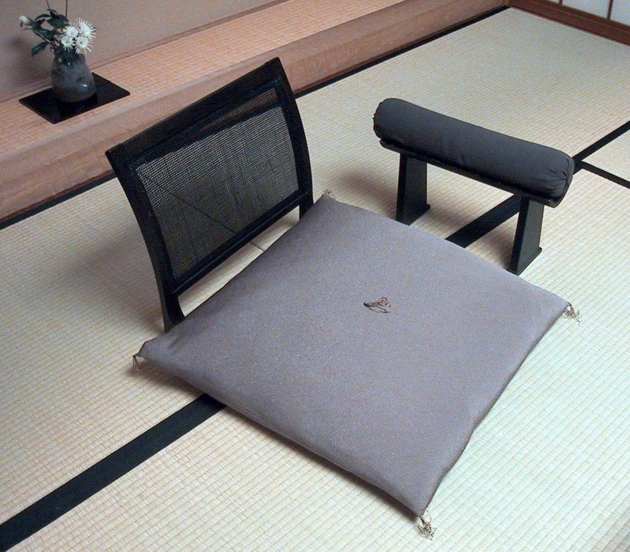 Zaisu Japanese Legless Chair Shown With Zabuton