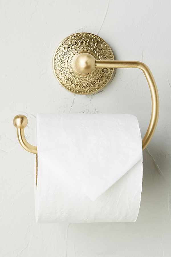 Photo of Brass Medallion Toilet Paper Holder