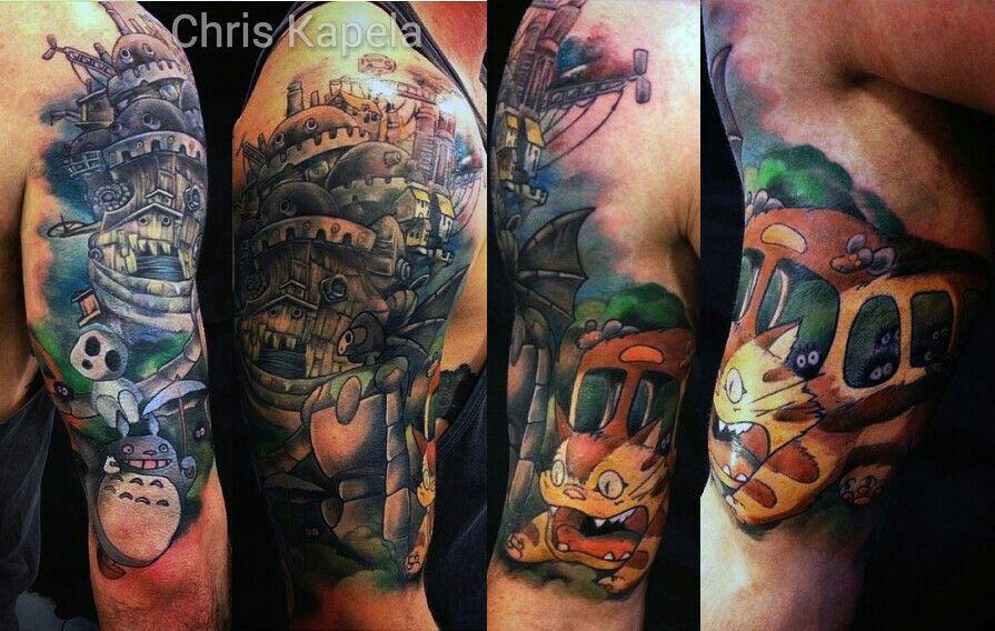 6b81d7070215a My Studio Ghibli half sleeve #totoro #howlsmovingcastle #kodama #catbus  #laputa #ghibli #studioghibli #tattoo
