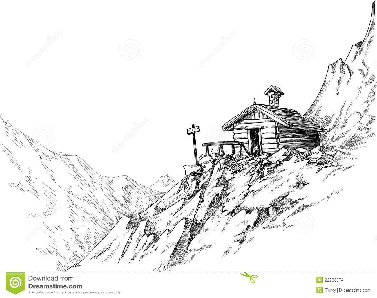 2019 的 mountain hut sketch stock images image 22203374 sketch