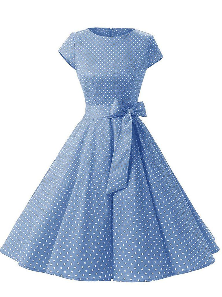 c7ad102dfece Blue 1950s Polka Dot Swing Dress in 2019
