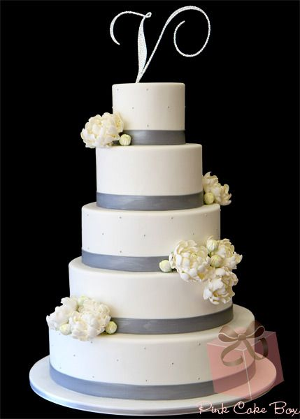 5 Tier Crystal Topper Wedding Cake by Pink Cake Box