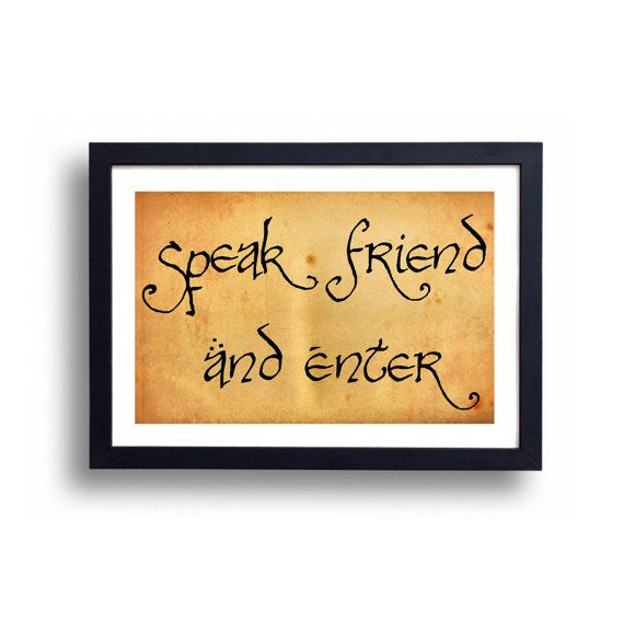 Lord of the Rings Poster Speak Friend and by TheGreenDragonInn, $16.00