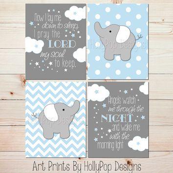 Blue Gray Baby Boy Nursery Art Elephant Nursery Wall Decor No ...