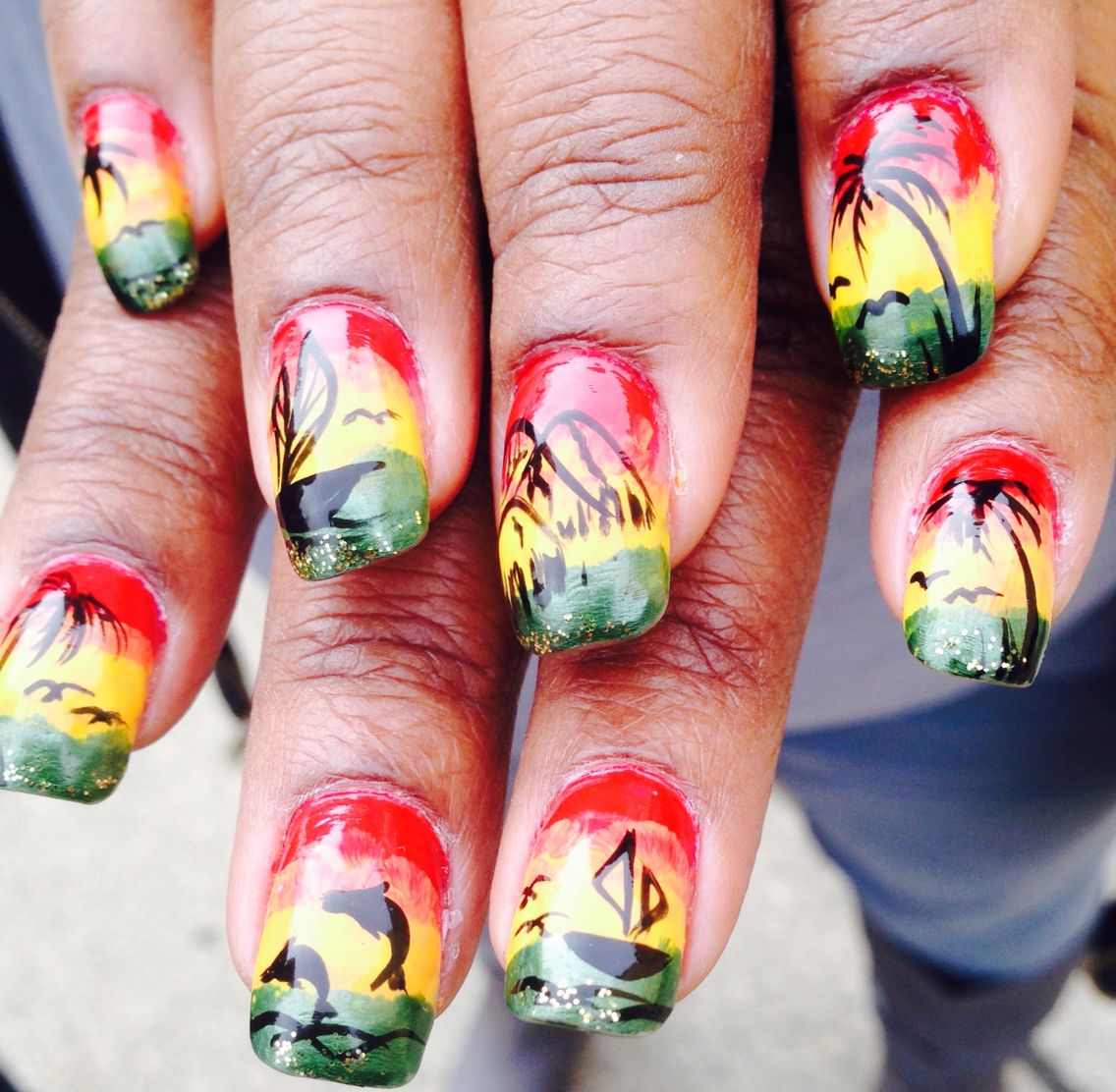 Jamaican Nail Art | uñas decoradas con paisajes | Pinterest | Arte ...