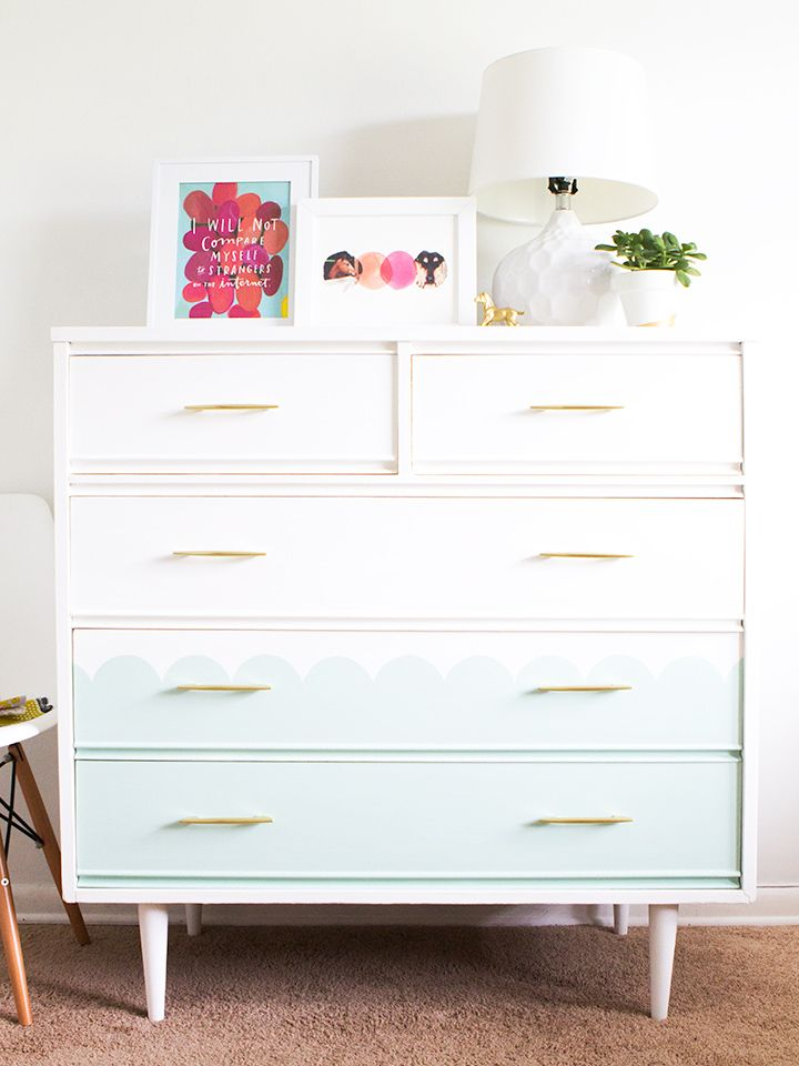 Mid century modern tallboy dresser chalk paint makeover for Mint green furniture paint