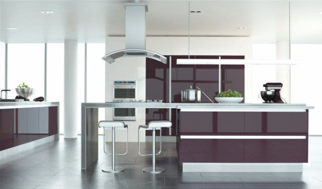 Plum solid colour ultragloss kitchen design cupboard doors @ Basically doors & Plum solid colour ultragloss kitchen design cupboard doors ...