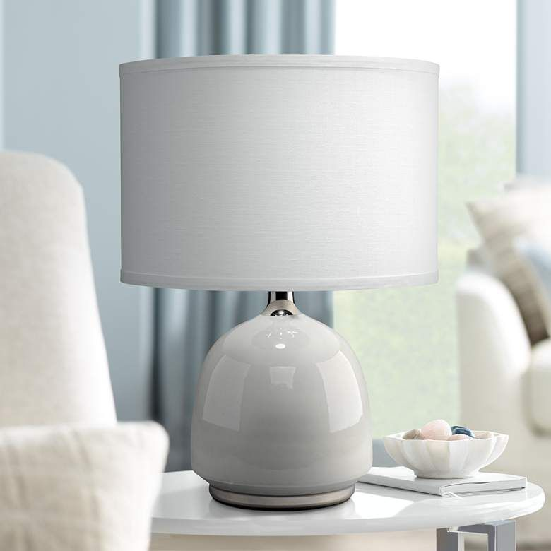 Jamie Young Carlton Light Gray Ceramic Accent Table Lamp
