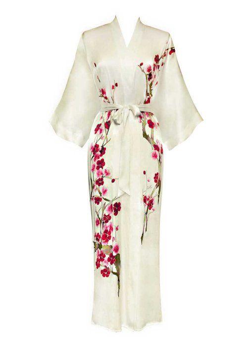5a16e30a45 Amazon.com  Old Shanghai Women s Silk Kimono- Handpainted (Long) - Cherry  Blossom Design