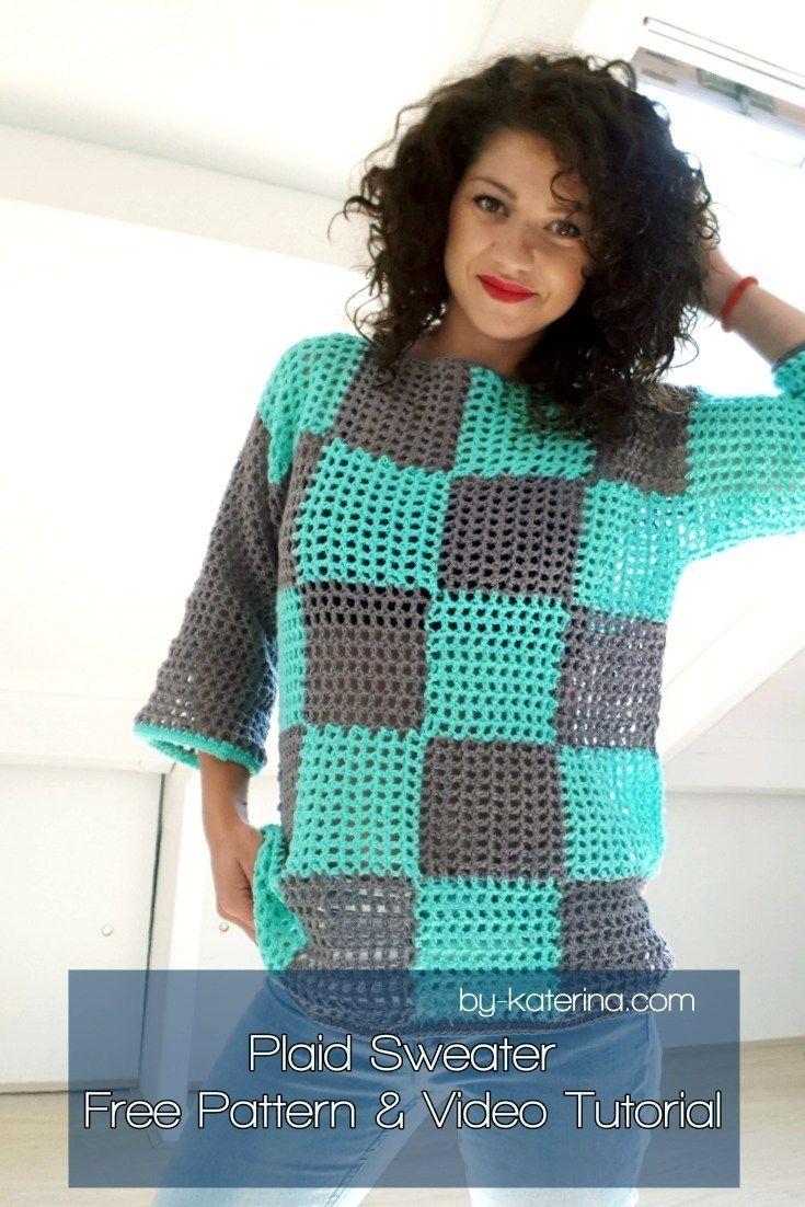 Photo of Plaid Summer Sweater. Crochet Pattern – ByKaterina –