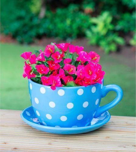 Giant Blue Polka Dot Design Tea Cup And Saucer Planter Flower Pot Flower Pots Flower Planters Tea Cup Planter