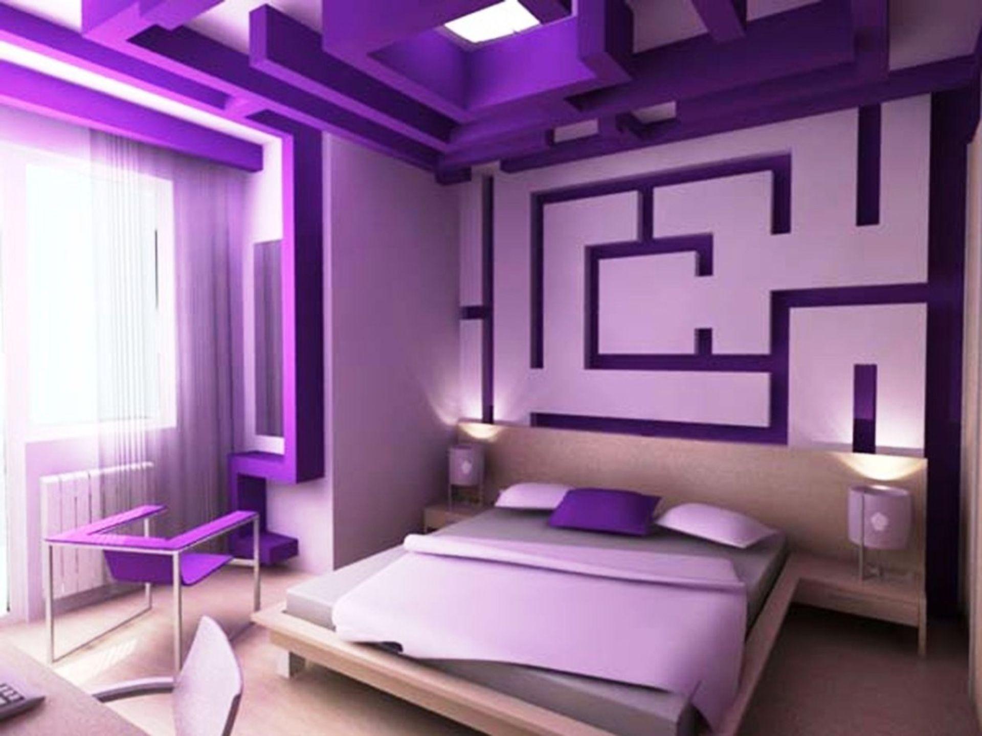 interior design posh purple bedroom ideas with cool master ...