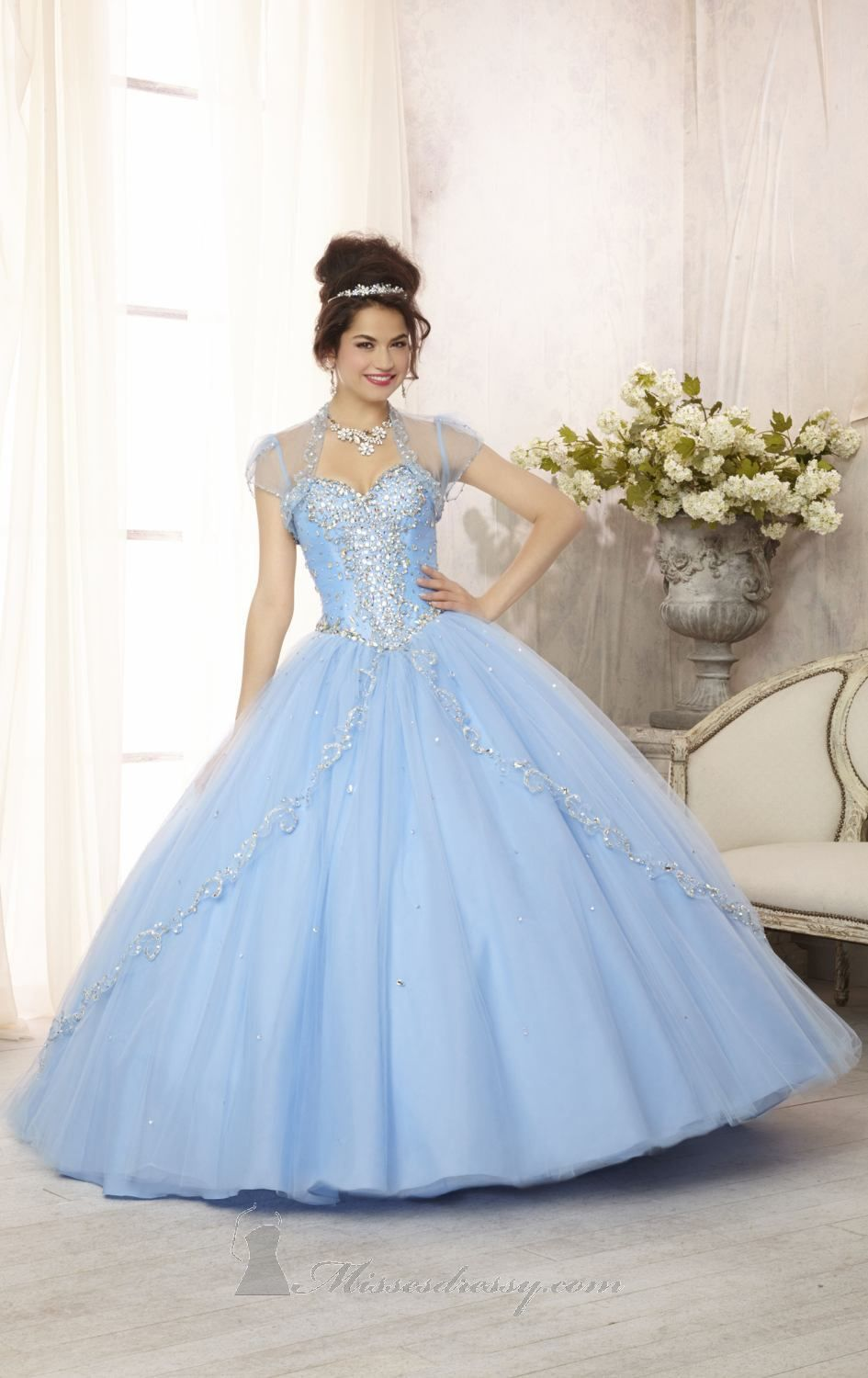 Pale blue layered tule with embellished top ballgown trajes