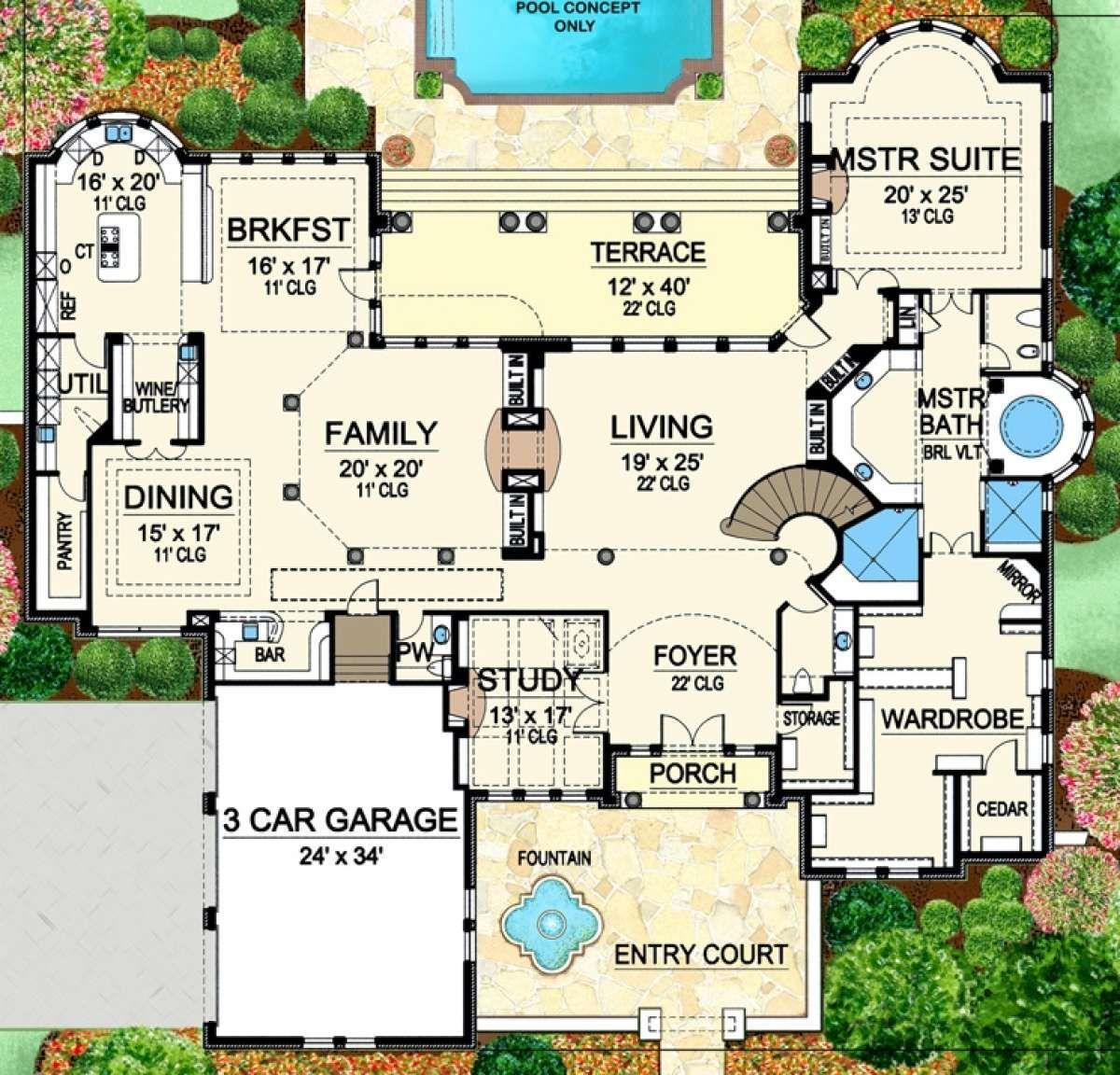 House Plan 5445 00200 Luxury Plan 6 903 Square Feet 4 Bedrooms 5 Bathrooms In 2020 Luxury Plan Tuscan House Plans House Plans