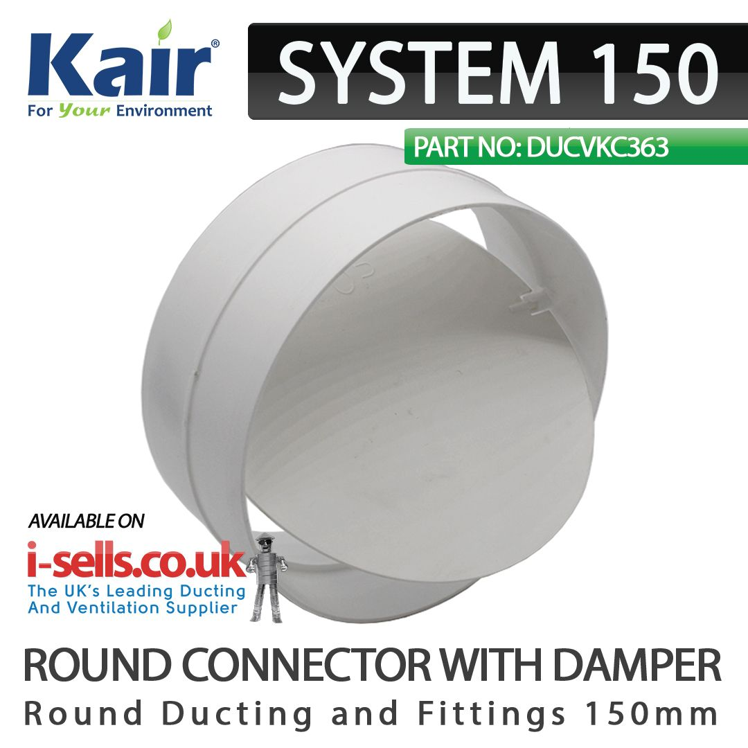 System 150 round connector with damper 150mm | Extractor fans ...