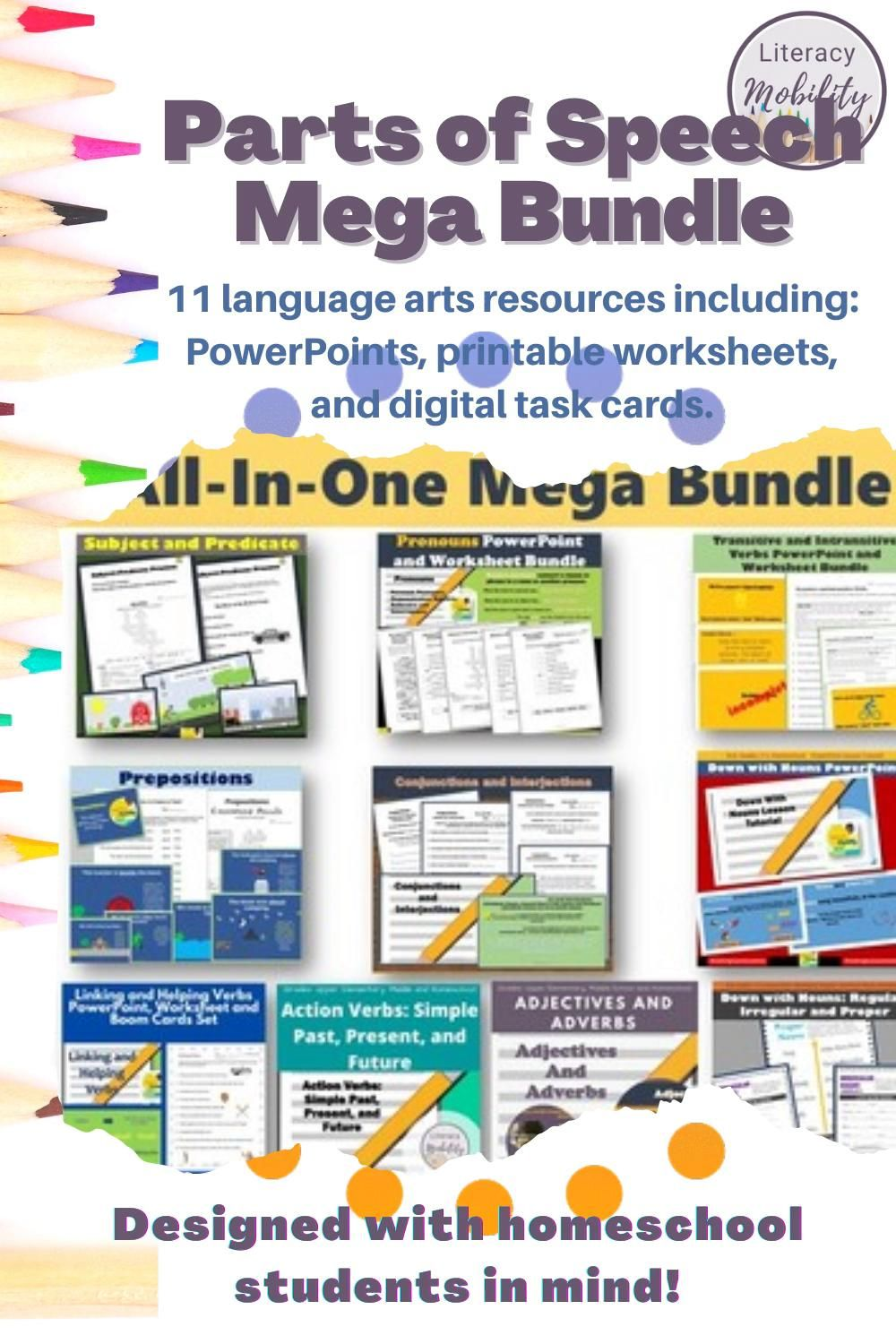 Parts Of Speech All In One Mega Bundle Video Video In 2020 Parts Of Speech Activities Upper Elementary Resources Parts Of Speech
