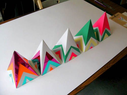 geometric colored pyramids