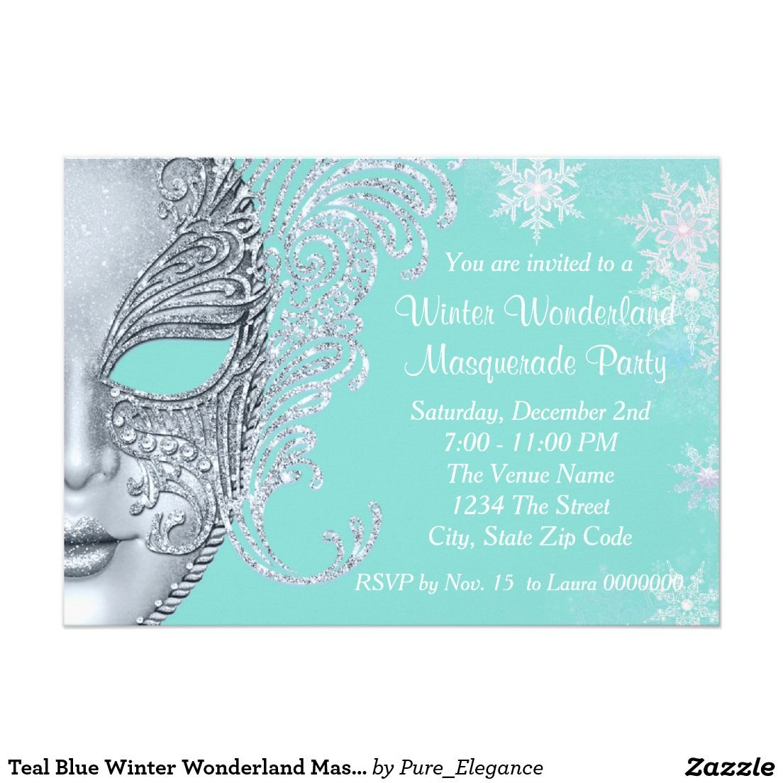 teal blue winter wonderland masquerade party invitation winter