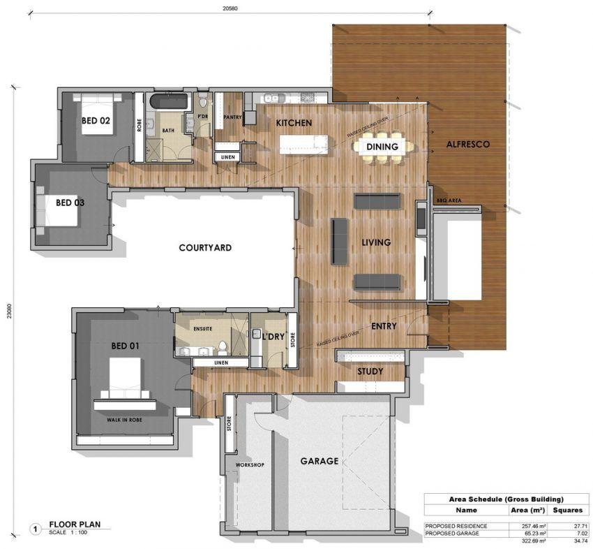 Floor Plan Friday 3 Bedroom Study U Shape Katrina Chambers Pool House Plans U Shaped House Plans Courtyard House Plans