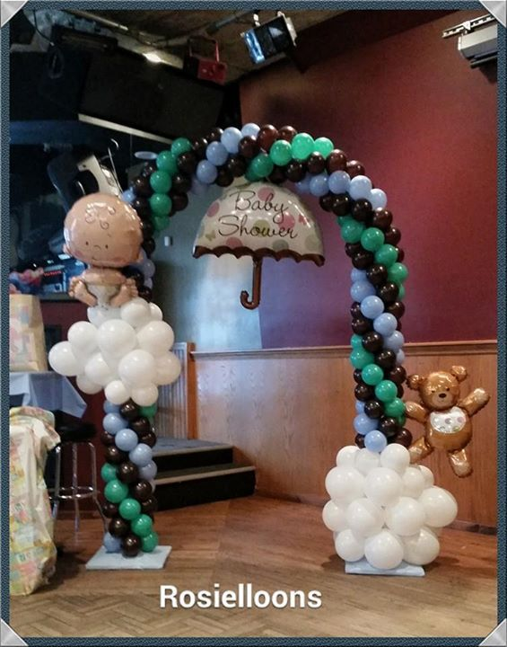 Lovely balloon arch for a baby shower.