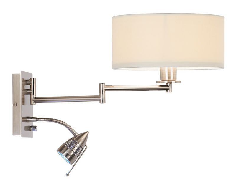 Possini Euro Brushed Steel Led Gooseneck Modern Wall Light This Would Be Neat For The Living Room It S A Plug In So The Cord Cou Swing Arm Wall Lamps