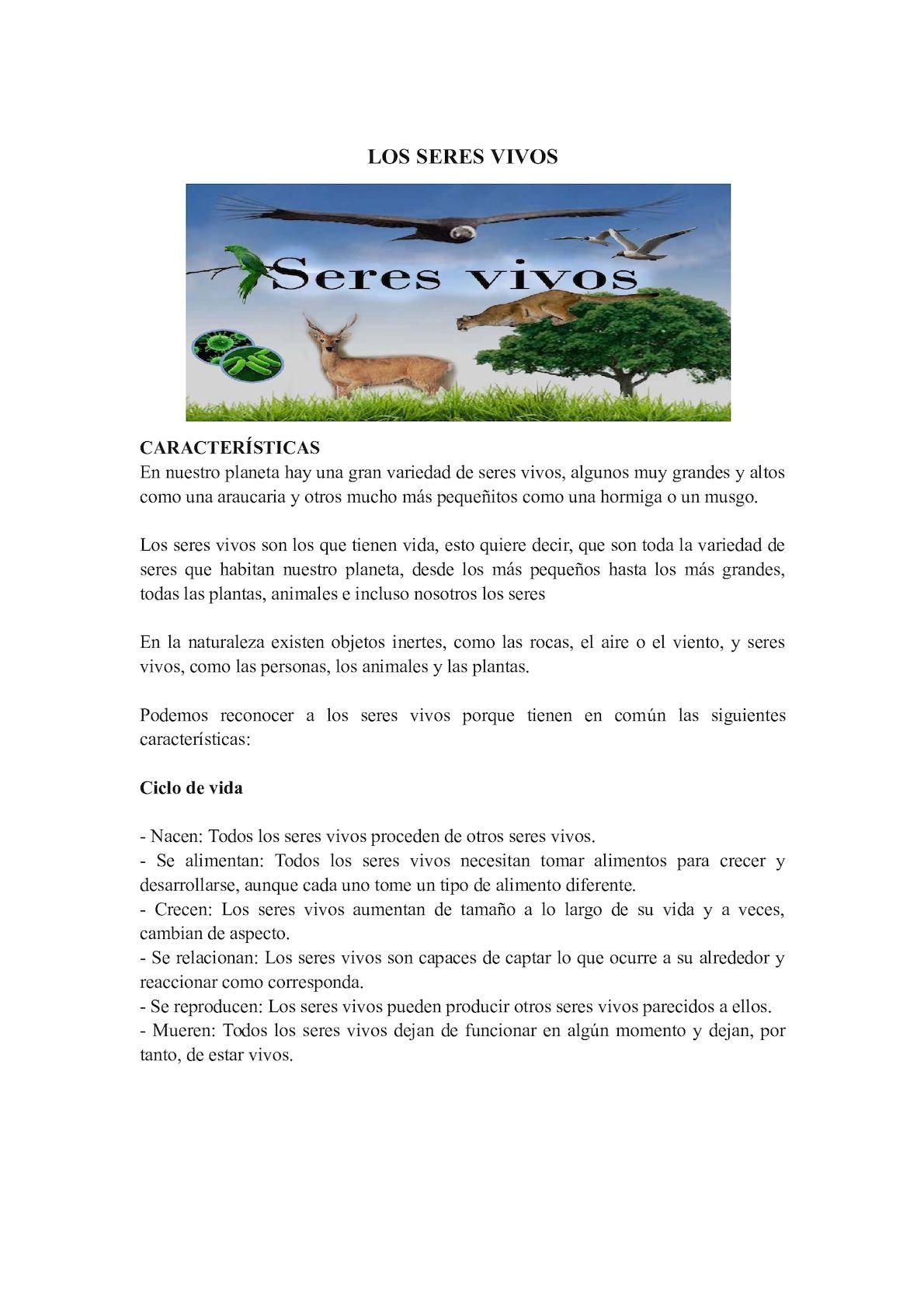 guía de trabajo sobre los seres vivos ie cisneros antioquia