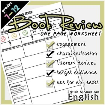 Book Review Template  Write Notes Scaffolding And Prompts