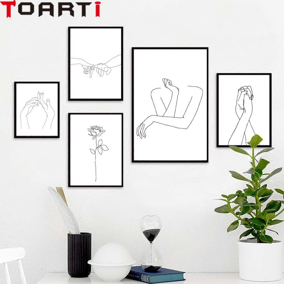 Kiss One Line Drawing Face Sketches Minimalist Art Canvas Poster Painting Black White Abstract Picture Print Mode Room Wall Art Mural Wall Art Bedroom Wall Art