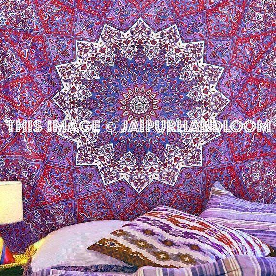 psychedelic tie dye star mandala tapestry queen cotton bedspread Blanket throw