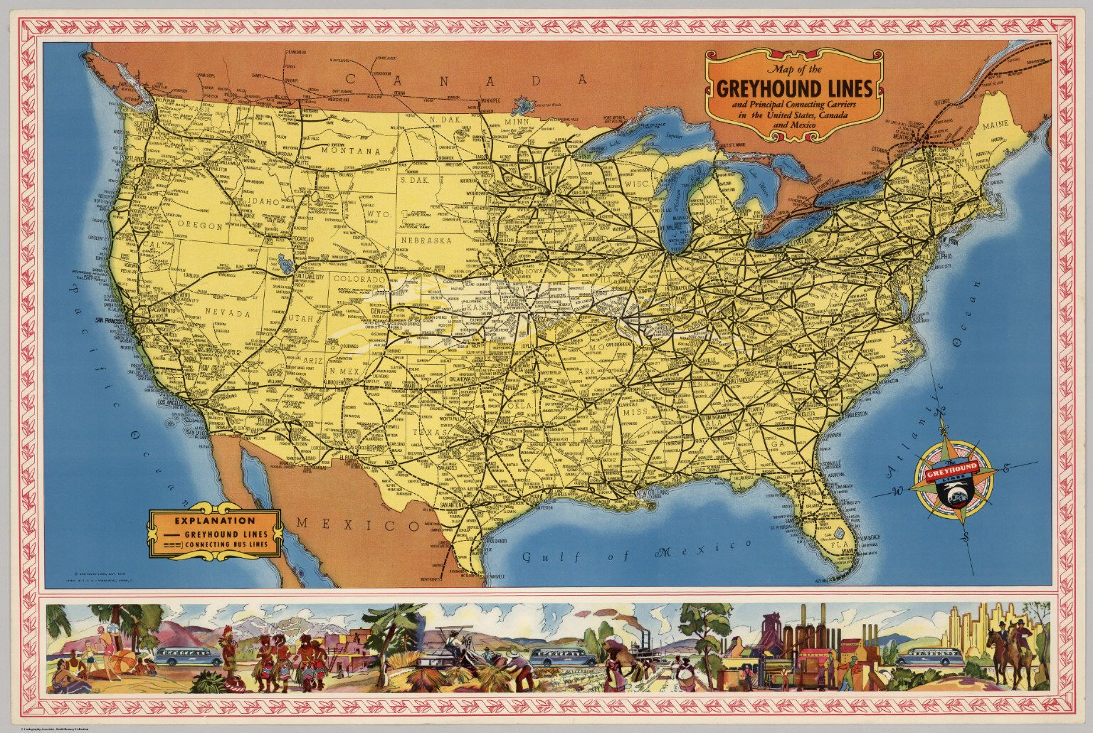 Map of the Greyhound Lines in the United States | Old Maps & Grid ...