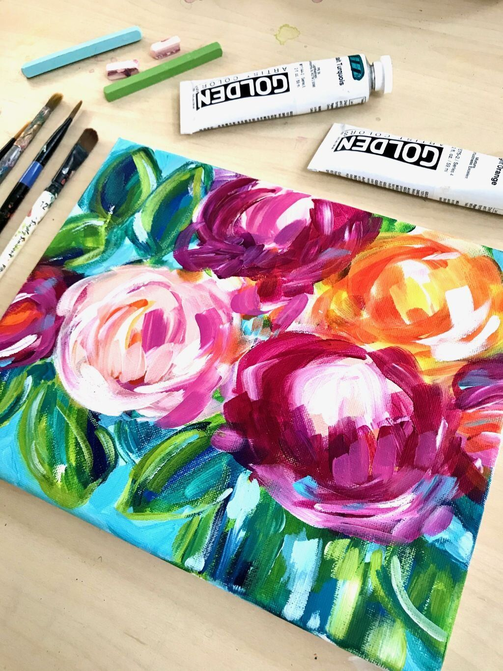 Easy Online Flower Painting Classes Acrylic Painting For