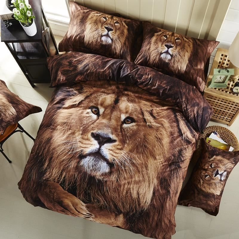 Ivarose Schwarz Print 3d Tiger Leopard Lowen Bettwasche Sets Queen