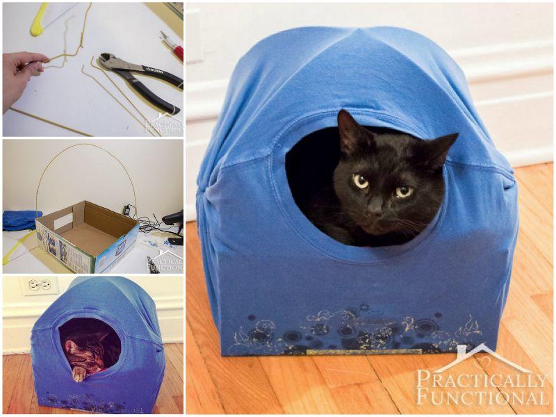 Super Cute T-Shirt Cat Tent Video Tutorial | Cat tent, Tent craft ...
