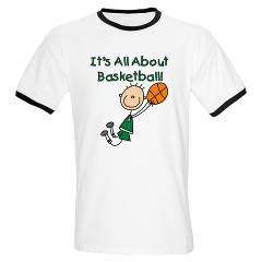 All About Basketball Ringer T> All About Basketball T-shirts and Gifts> Stick Figure Shop