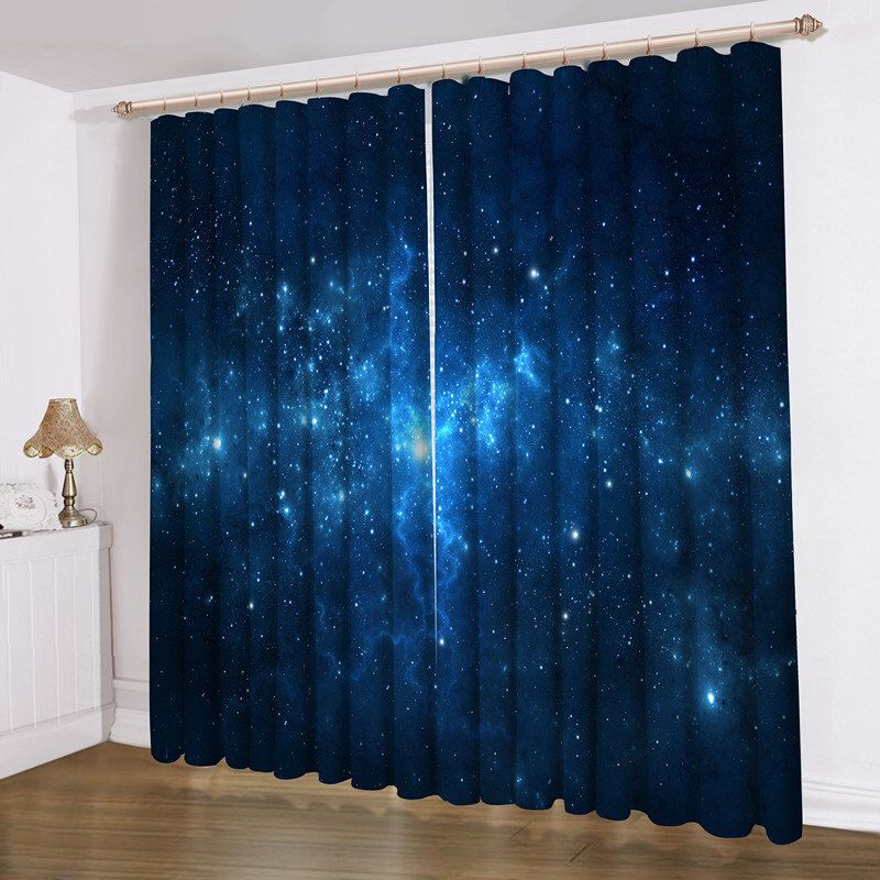 Blue Galaxy Curtain 52\x84\ Valance Window Treatments Blackout Rhpinterest: Galaxy Drapes For Bedroom At Home Improvement Advice