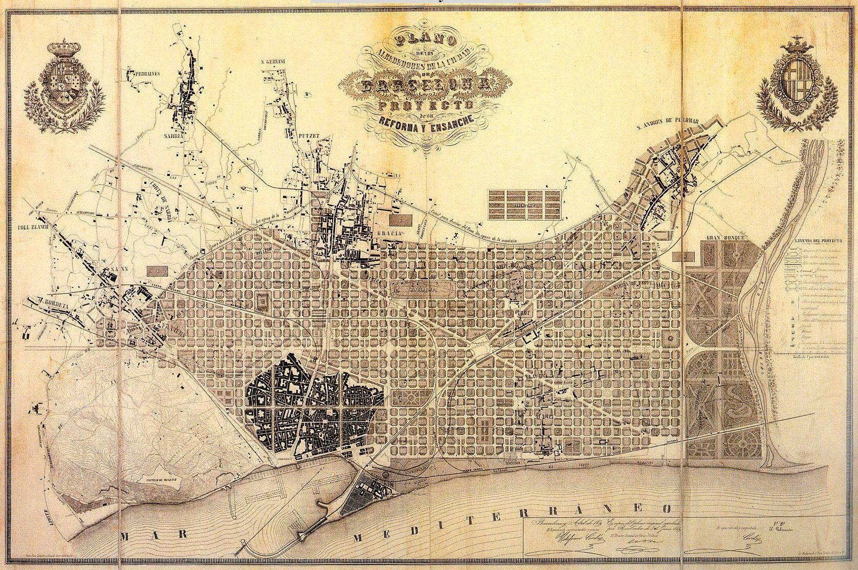 Mapa del Pla Cerdà, de 1859.