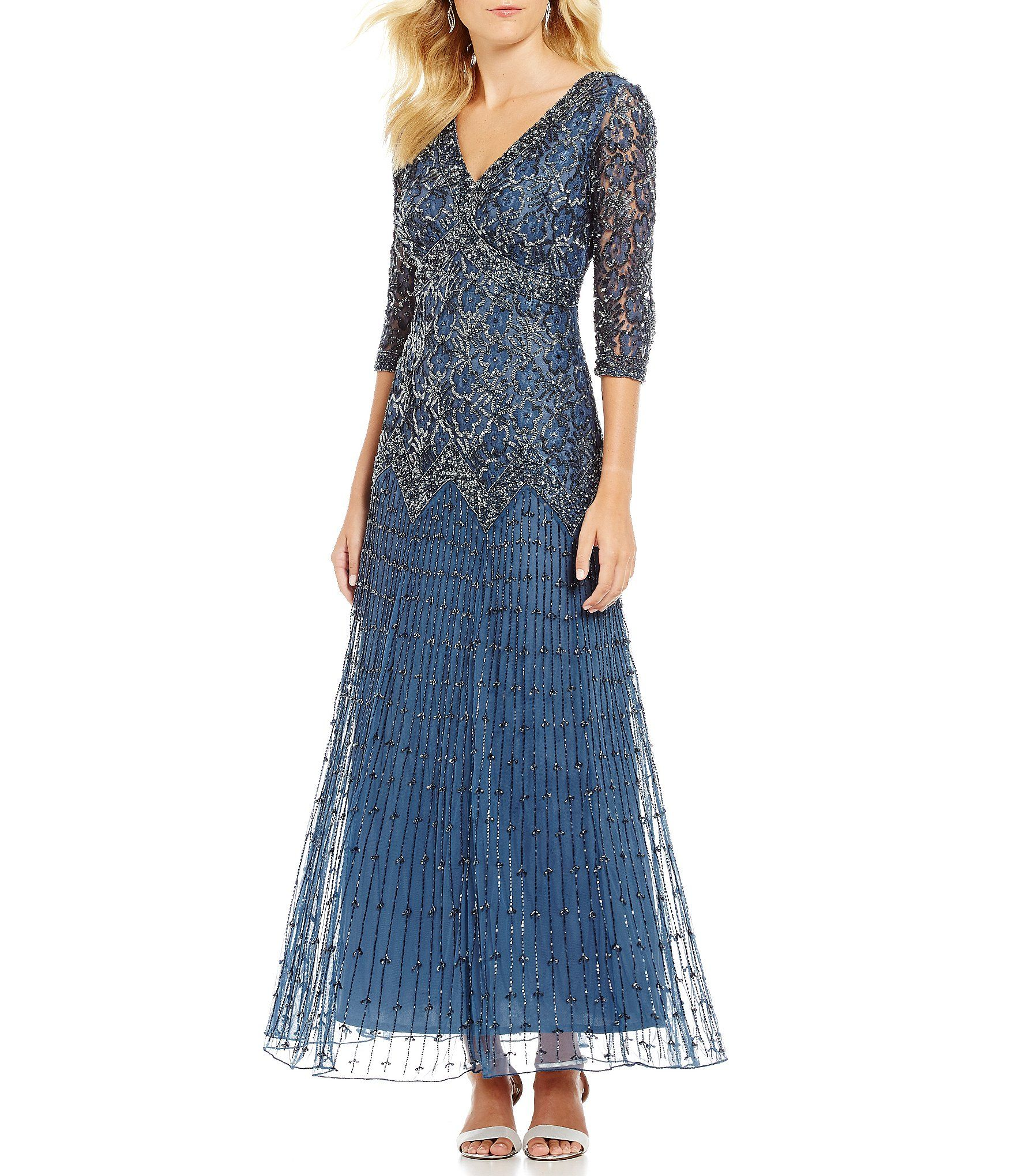 Pisarro Nights Beaded Lace Gown | Beaded lace, Dillards and Clothing ...