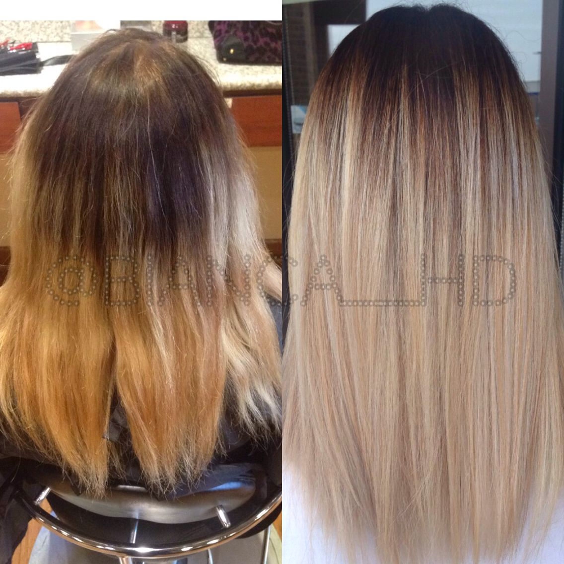 Color correction cool tone blonde hair with balayage ombre melt